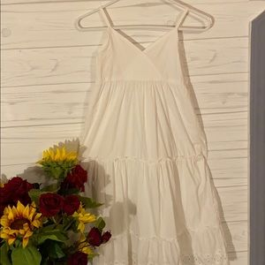 LONG WHITE DRESS WITH LACE TRIM